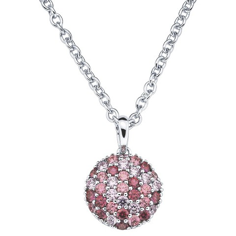 Lotopia Sterling Silver Round Cluster Pendant Necklace-Swarovski Zirconia Stones-Multi Pinks