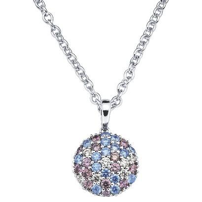 Lotopia Sterling Silver Round Cluster Pendant Necklace-Swarovski Zirconia Stones-Multi Blues