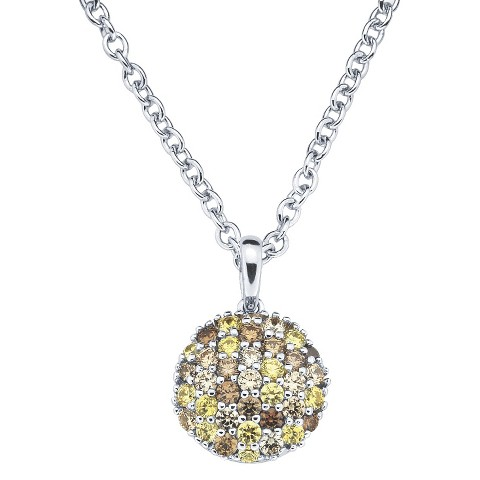 Lotopia Sterling Silver Round Cluster Pendant Necklace-Swarovski Zirconia Stones-Multi Golds
