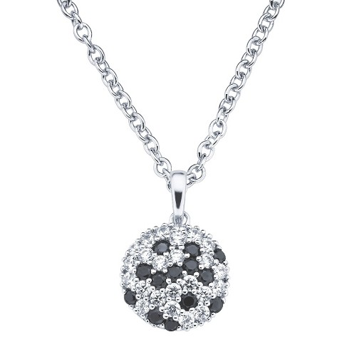 Lotopia Sterling Silver Round Cluster Pendant Necklace with Crystals from Swarovski-Black and White