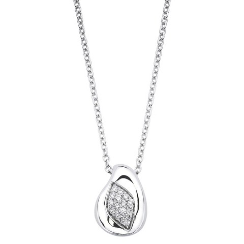 Lotopia Sterling Silver Marquise Pendant Necklace-Swarovski Zirconia Stones-White