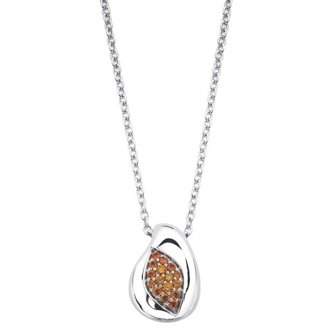 Lotopia Sterling Silver Marquis Pendant Necklace-Swarovski Zirconia Stones-Orange