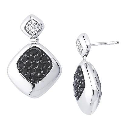 Lotopia Sterling Silver Square Drop Earrings-Swarovski Zirconia Stones-Black and White