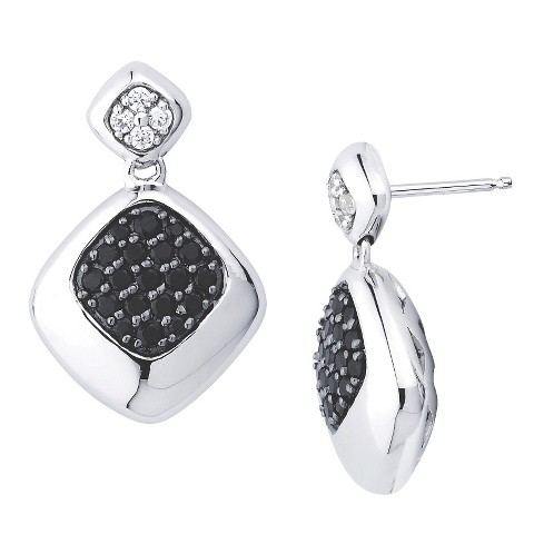 Lotopia Sterling Silver Square Drop Earrings-Swarovski Zirconia Stones-Black and White