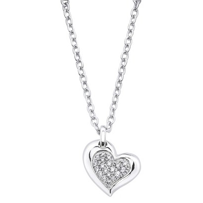 Lotopia Sterling Silver Heart Pendant Necklace-Swarovski Zirconia Stones-White