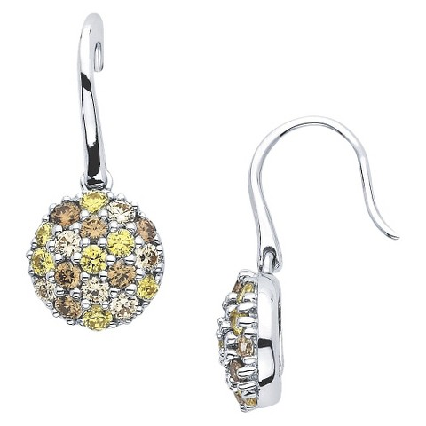 Lotopia Sterling Silver Round Cluster Earrings-Swarovski Zirconia Stones-Multi Golds