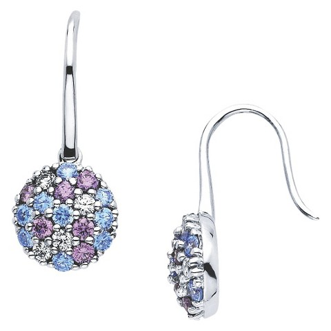 Lotopia Sterling Silver Round Cluster Earrings with Crystals from Swarovski-Multi Blues
