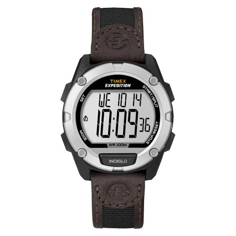 Men's Timex Expedition®  Digital Watch with Resin Case and Nylon/Leather Strap - Brown T49948JT