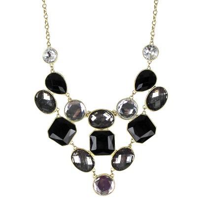 Women's Bib Necklace - Black/Gold