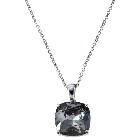 Women's Silver Plated Cushion Cut Pendant with Crystals from Swarovski (12mm)