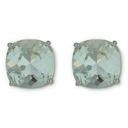 Women's Silver Plated Swarovski Crystal Cushion Stud Earrings - Assorted Colors (10mm)