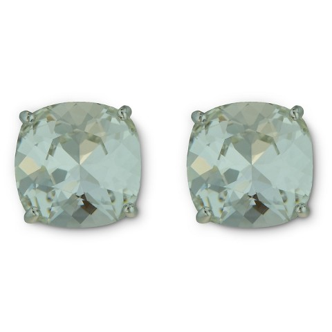 Women's Swarovski Silver Plated Crystal Cushion Stud Earrings - Assorted Colors (10mm)