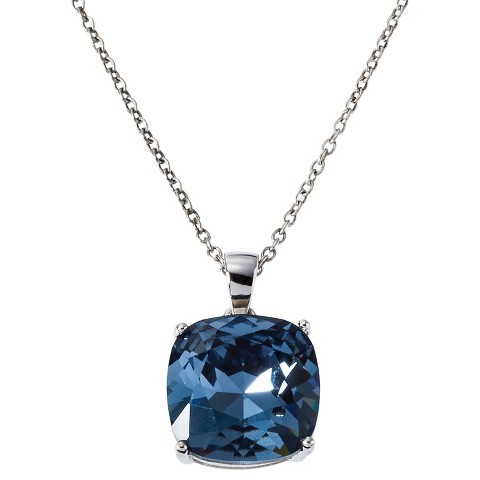 Women's Silver Plated Swarovski Crystal Cushion Pendant - Assorted Colors (12mm)