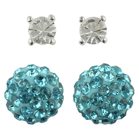 Women's Button Earrings Set of 2 with Crystal Ball and Crystal Fireball - Silver/Clear/Blue