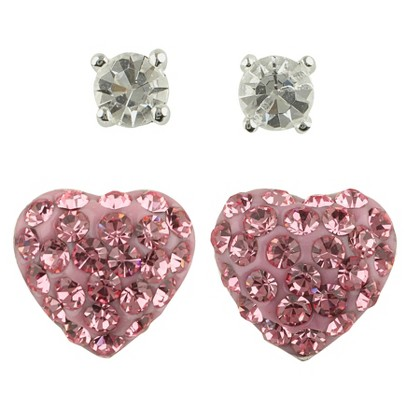 Women's Button Earrings Set of 2 with Crystal Ball and Crystal Heart Fireball - Silver/Clear/Pink