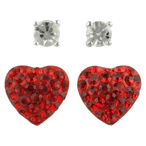 Women's Button Earrings Set of 2 with Crystal Ball and Crystal Heart  Fireball - Silver/Clear/Red