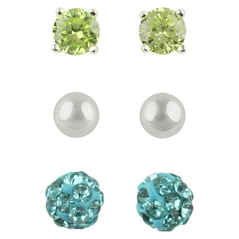 Women's Button Earrings Set of 3 with Cubic Zirconia Stud, Ball and Crystal Fireball - Silver/Blue/Green