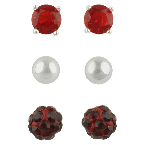 Women's Button Earrings Set of 3 with Glass Stud, Ball and Crystal Fireball - Silver/Red