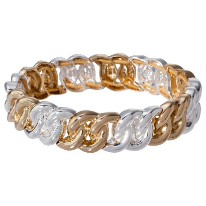 Lonna & Lilly Mixed Metal Link Stretch Bracelet - Silver/Gold