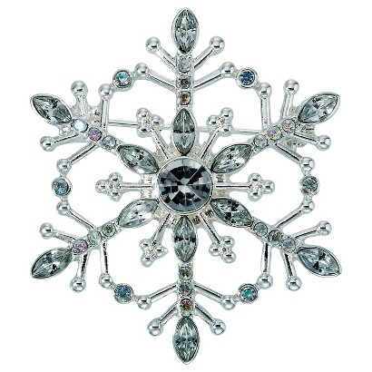 Lonna & Lilly Silver Snowflake Pin - Silver/Clear Stone