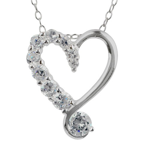"1/2 CT. T.W. Cubic Zirconia Heart Cable Chain in Sterling Silver - Multicolor (18"")"