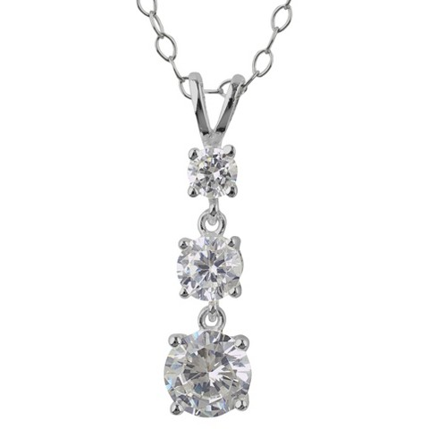 "Three stone drop Cubic Zirconia Sterling Silver Cable Chain (18"")"