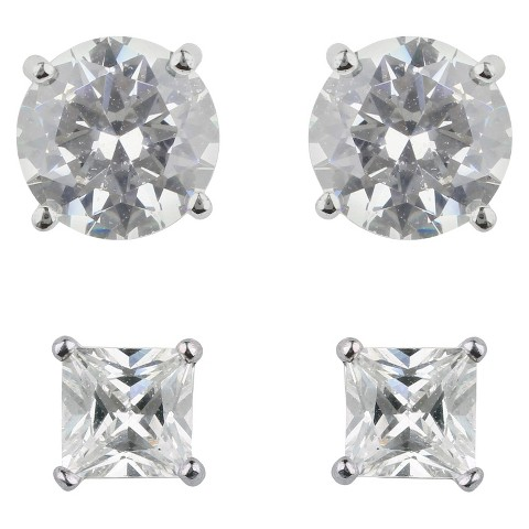 Square and Round Cubic Zirconia Stud Post Earrings Set of 2 - Set in Sterling Silver