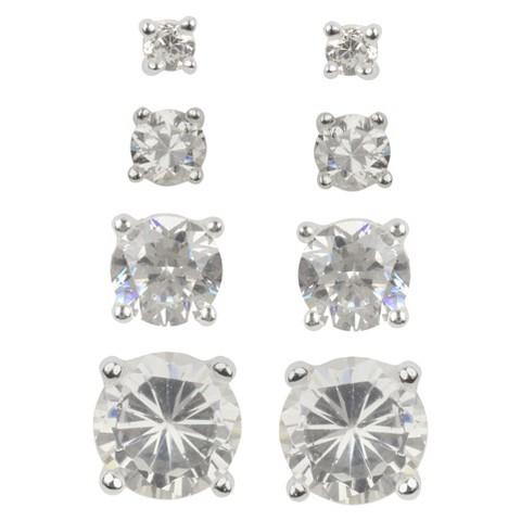 Multi-size Cubic Zirconia Stud Post Earrings Set of 4 - Set in Sterling Silver