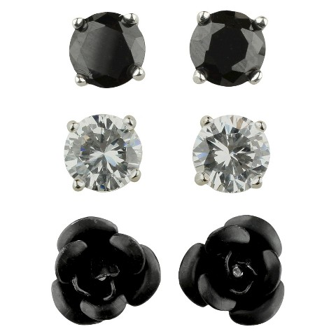Women's Button Earrings Set of 3 with Cubic Zirconia Stud, Rose and Ball - Silver/Clear/Black