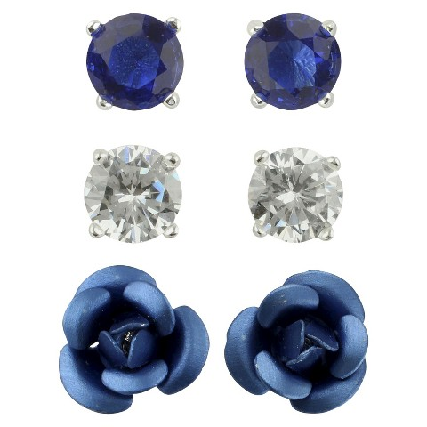 Women's Button Earrings Set of 3 with Glass Stud, Ball and Rose - Silver/Clear/Blue