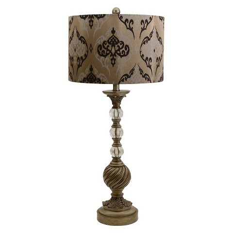 Damask Swirl Table Lamp - Gold (Includes CFL Bulb)