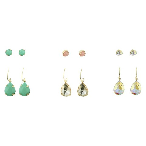 Stone Stud Earring Set of 6 - Multicolor