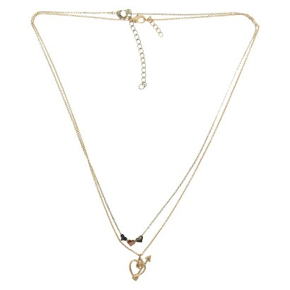 2 Piece Necklace Set with Hearts and Arrow Charms - Gold/Rose Gold/Silver