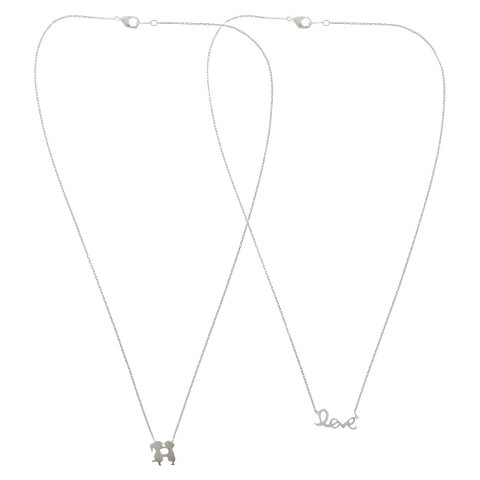 """2 Piece Necklace Set with """"Love"""" Charms - Gold/Silver"""