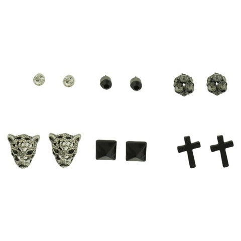 Set of 6 Stud Earrings with Studs Panther Pyramid and Cross - Silver/Crystal/Black