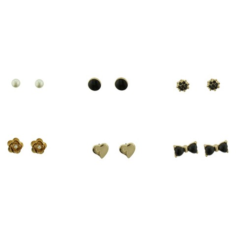 Set of 6 Stud Earrings with Pearl Heart Bow Flowers and Buttons - Gold/Ivory/Black