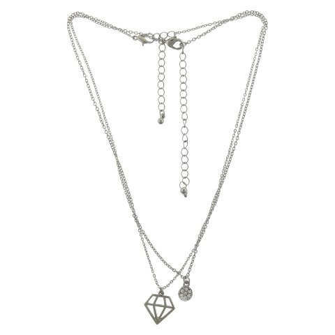 2 Piece Necklace Set with Diamond and Round Stud Charms - Silver/Crystal