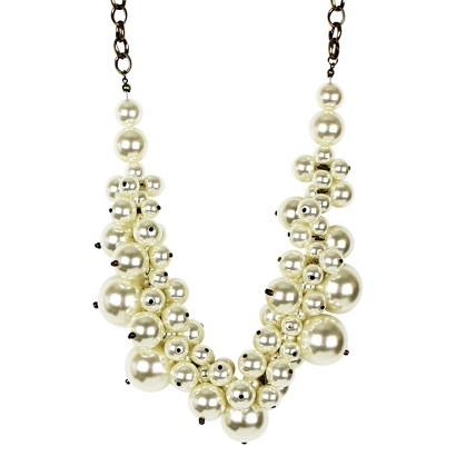 Women's Bib Necklace with Simulated Pearls - Gold