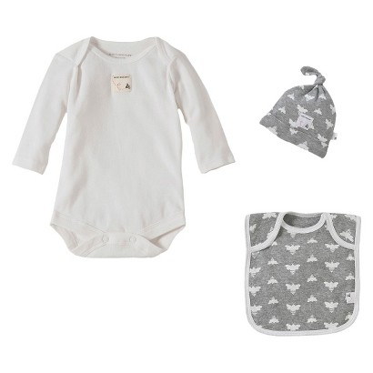 Burts Bees Baby™ Newborn Bodysuit Hat and Bib Set - Heather Grey