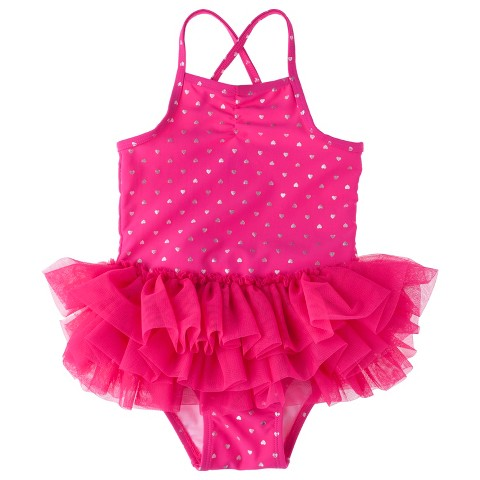 Toddler Girls' Heart Tutu One Piece Swimsuit