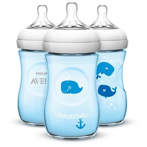 Philips Avent BPA Free Natural 9 Ounce Polypropylene Bottles, Blue, 3-Pack