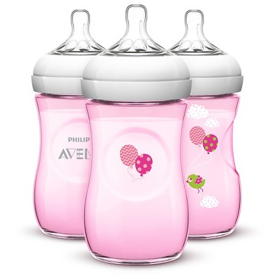 Philips Avent BPA Free Natural 9 Ounce Polypropylene Bottles, Pink, 3-Pack