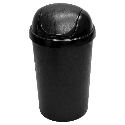 Hefty 10.5 Gal. Swing Lid Waste Can with Decorative Texture - Black