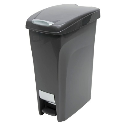 Hefty 10.8 Gal. Premium Slim Profile Step-On Waste Can - Carbon Gray with Chrome Accents