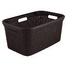 45L Rattan Rectangular Laundry Basket-Brown