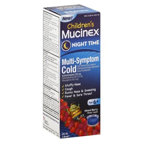 Mucinex Children's Night Time Multi-Symptom Cold Liquid - 4 fl oz