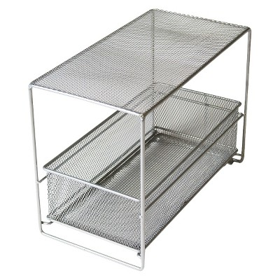 Under Vanity Storage Rack with Drawer Silver Neat Life