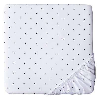 Woven Fitted Crib Sheet - Black Dot on White - Circo™