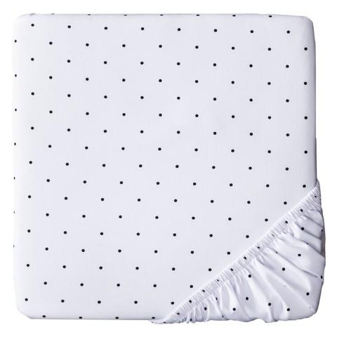 Woven Fitted Crib Sheet - Black Dot on White - Circo™