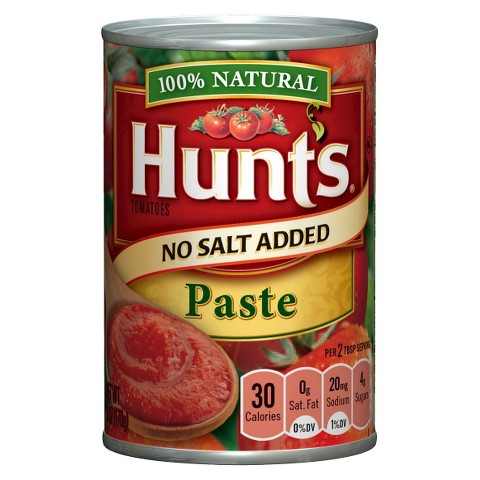 Hunt's 100% Natural No Salt Added Tomato Paste 6 oz